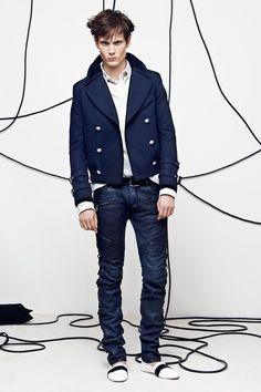 Balmain | Spring 2014 Menswear Collection | Blue jeans