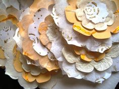 White, Sparkly Gold and Yellow Wedding Decoration, Bridal Decor, Large Paper Flowers, 12 pieces
