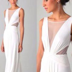 Elegant Low cut white prom senior ball greek goddess