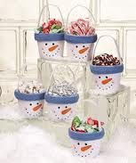 Clay Pot Snowman filled with Goodies. takes you to hundreds of clay pot crafts for every occasion you can think of and some I hadn't!