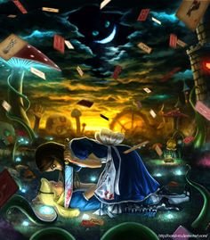 """The idea to depict 2 Alices from different imaginary universes occurred a long time ago, while playing in """"American McGee's Alice"""" (EA's video game). Alice Liddell, Chesire Cat, Alice Madness Returns, Through The Looking Glass, 2d Art, Dark Art, Art Pictures, Psychedelic, Alice In Wonderland"""