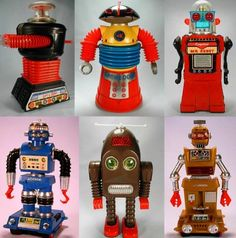 """a nice little collection of vintage robots from """"Botropolis"""""""