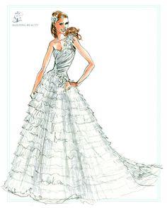 Sleeping beauty wedding dress, from the Disney's Fairy Tale Weddings - Style 203 sketch #wedding #ball #gown