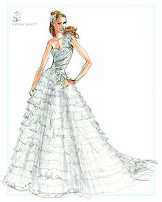 Sleeping beauty wedding dress, from the Disney's Fairy Tale Weddings - Style 203 sketch #wedding #ball #gown