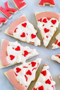 Take a Little Pizza My Heart . Valentine Cookies - Keila Hötzel - Take a Little Pizza My Heart . Valentine Cookies take a little pizza my heart, decorated cookies for valentine's day! Valentines Day Cookies, Valentines Puns, Valentine Treats, Holiday Treats, Valentine Pizza, Birthday Cookies, Valentines Baking, Valentine Desserts, Cookie Pizza