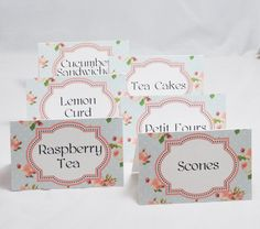 Tea Party Food Cards  Shabby Chic  Set of by CardsandMoorebyTerri, $9.00