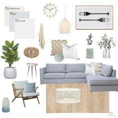 Coastal Living Rooms, Home Living Room, Living Room Designs, Living Room Decor, Deco Studio, Home Interior Design, Coastal Interior, Mood Board Interior, Home And Deco