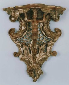 A gilded wood console bracket (wandkonsole);  original gilding | From a unique collection of antique and modern wall brackets at https://www.1stdibs.com/furniture/wall-decorations/wall-brackets/