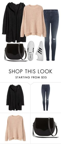 """Sans titre #846"" by alexejrd ❤ liked on Polyvore featuring H&M, J Brand, MANGO, Rebecca Minkoff and adidas"