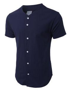 LE3NO PREMIUM Mens Heavyweight Short Sleeve Button Up Baseball Jersey Shirt