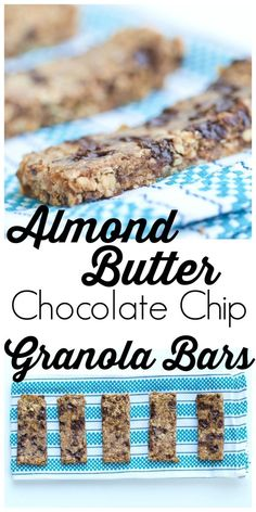 Chewy Almond Butter Chocolate Chip Granola Bars. Easy and healthy homemade granola bar recipe from Happy Healthy Mama. These are great for snack or breakfast--and my kids think they are a treat!