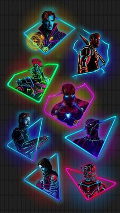 "Edit of the ""neon marvel"" characters (original art by Aniket Jatav) Marvel Films, Marvel Memes, Marvel Characters, Marvel Cinematic, Marvel Comic Universe, Marvel Dc Comics, Marvel Avengers, Comics Universe, Harley Queen"