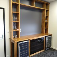 IMG_20191018_092401 Wood Slat Wall, Wood Slats, Built In Furniture, Industrial Furniture, Make Build, Built In Bookcase, Building, Interior, Design