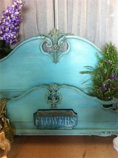 Aqua Painted Headboard painted with Coastal Colors Chalk paint.