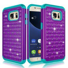 Galaxy S7 Case, Kmall 2in1 Bling Crystal Glitter Diamond Rhinestone Studded Impa #Kmall