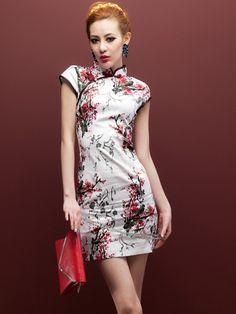 da0c009aab16a0 Short Mandarin Collar Qipao   Chinese Cheongsam Dress with Red Plum Print