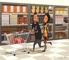 Estilos de vida. Compras de una pareja joven. By Paco Ramírez & Mr. Illustrator