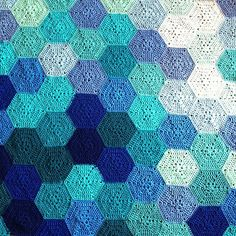 Geometric Lace no. 19 – For a little girl in California! For pattern info or to request this as a custom, handmade piece, head over to the main page! I've made this blanket in the aqua … Crochet Hexagon Blanket, Crochet Quilt, Crochet Squares, Crochet Blanket Patterns, Crochet Motif, Crochet Afghans, Crochet Blankets, Motif Hexagonal, Hexagon Pattern