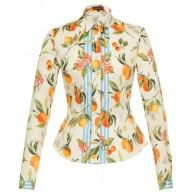 """LENA HOSCHEK """"Tutti Frutti"""" SS19 @LupiSpuma – Orangerie Blouse – Fitted long-sleeved blouse with button-through front and striking citrus fruit print. With striped accents along the button placket and at the sleeve hem, the fabric was specially designed by Lena Hoschek for the Tutti Frutti collection. Mother-of-pearl buttons. #blouse #bluse #orangerie #orange lenahoschek #tuttifrutti #spring #summer #austrianfashion Mother Of Pearl Buttons, Mother Pearl, Feminine Mode, Ribbon Skirts, Fruit Print, Tutti Frutti, Trends, Piece Of Clothing, Shirt Dress"""