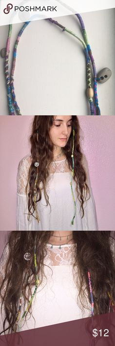 1 Customizable Hippy Boho Festival Hair Extension This listing is for 1 Extension, if you would just like more checkout other listings. MADE TO ORDER: Please allow me 1-2 days to make the extensions due to being made custom. Comment what length (in) you would like for your extension & colors you would like choose 2-6 colors. I will include instructions on how to put in your hair. Photos are for reference.   Tags: Hollister, Urban Outfitters, H&M, Patagonia, REI, Free People, Burning Man…