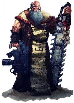art, battle priest - that's some chain sword.