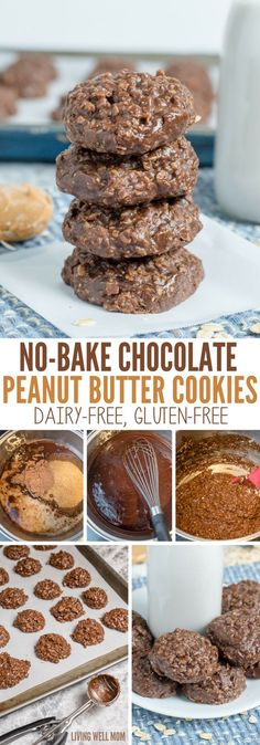 Make any occasion a hit with lactose freindly dairy free desserts No-Bake Chocolate Peanut Butter Cookies require just 5 minutes of prep time. This easy dairy-free, gluten-free recipe is so delicious, kids and adults alike will gobble up these cookies! Dairy Free Cookies, Gluten Free Treats, Gluten Free Baking, Vegan No Bake Cookies, Baking Cookies, Gluten Free Peanut Butter Cookies, Healthy Gluten Free Snacks, Sugar Free Peanut Butter Cookies, Dairy Free Frosting