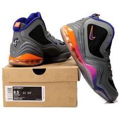 http://www.asneakers4u.com/ Nike Air Penny 5 V  Penny Hardaway Shoes Phoenix Suns Gray/Purple