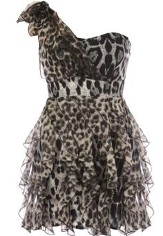 Leopard Empress Dress: Features a chic one-shoulder design with gathered chiffon overlay capped with a festive bow at right strap, lightly padded bust, fierce snow leopard print throughout, and a mesmerizing display of chandelier frills surrounding the lower portion to finish.