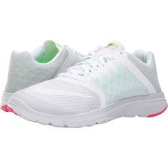 Nike FS Lite Run 3 (Pure Platinum/Voltage Green/Hyper Pink/White)... ($45)  ❤ liked on Polyvore featuring shoes, athletic shoes, white, breathable  running ...