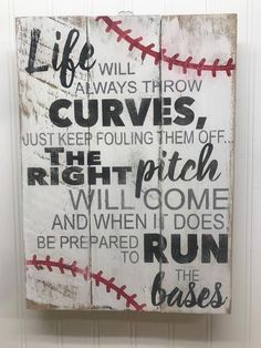 Baseball Sign Rustic Pallet Wall Art Life Will Always Throw Curves Baseball Mom Gifts Baseball Coach Gift Wooden Wall Sign 1418