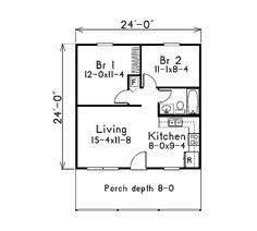 Image Result For Floor Plan For A 2 Bedroom 24x24 Vacation House