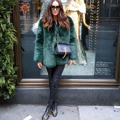 Clementine McVeigh in Chloe boots and YSL tassel bag