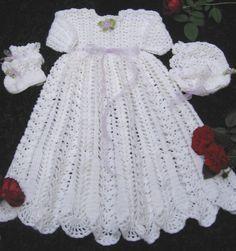 Free Crochet Christening Set Patterns | crochet baby christening dress rose of thread irish crochet baby ...