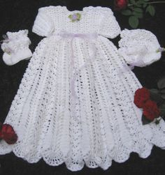 Free Crochet Christening Set Patterns   crochet baby christening dress rose of thread irish crochet baby ...