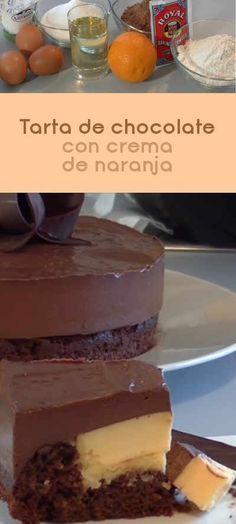 Tarta de chocolate con crema de naranja