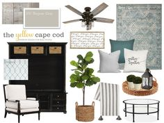 The Yellow Cape Cod: Multiroom Farmhouse Flavored New Construction Design Plan Colorful Decor, Colorful Interiors, Sw Repose Gray, Grey Family Rooms, Coastal House Plans, Farmhouse Paint Colors, E Design, Interior Design, Construction Design