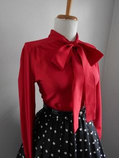 Sexy Vintage 1950s 1960s LIPSTICK Red Button Down Blouse w Ascot Tie Neck by bluebarnvintage on Etsy