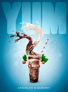 A web visual for YUM Milk, using a blend of CGI, stock and retouching.