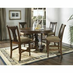 Excursions 5 Piece Counter Height Dining Set in Chestnut by Somerton. $1437.36. 142-68T / 142-68B / 142-38 Features: -Table base offers a built-in storage compartment.-Leaf extension: 18''.-General conformity certified.-Cleaning: use dry/damp cloth; do not use oil based cleaners. Includes: -Set includes counter height table and four barstools. Construction: -Constructed of hardwood solids with red oak veneers. Color/Finish: -Medium brown finish.-Table top features...