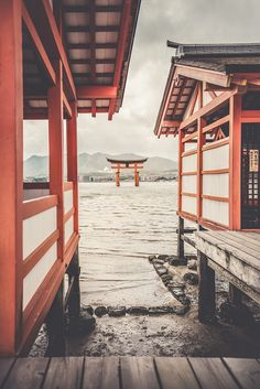 Torii Gate (The Floating Gate) view from Itsukushima Shrine - Miyajima, Hiroshima prefecture, Japan