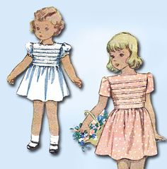 McCall Pattern 6703 Toddler Girl's Dress Pattern with Horizontal Tucks on Bodice Dated 1946 Complete Nice Condition 14 of 14 Pieces Counted. Verified. Guaranteed. Envelope is Worn and Discolored Size