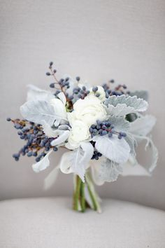 Beautiful, unconventional wedding bouquet! White, gray and blue bouquet by Stems & Styles