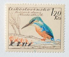 This is another stamp out of the set of 1959 Czechoslovakian postage stamps designed by painter, illustrator, lettering artist, teacher and stage designer Karel Svolinsky (1896-1986) and engraved by Jirka Ladislav. For me this is the most beautiful stamp, with these wonderful different blueish tones. Thanks @Heather Ferriss