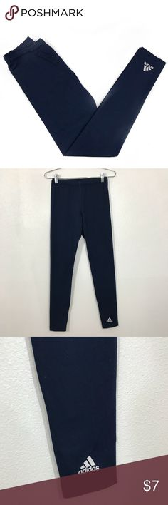 Adidas Jogger Leggings • Form fitting navy blue leggings with a jogger silhouette. These feature a drawstring waist. These do show normal signs of wear from being washed and worn and are beginning to slightly pill (pictured). adidas Pants Leggings