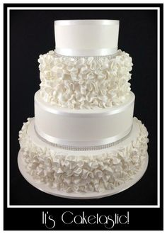 Each scrunch flower was brushed with lustre and the entire cake was airbrushed with pearl shimmer so it was simply gorgeous