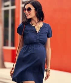 Pretty maternity navy dress. for the next one!