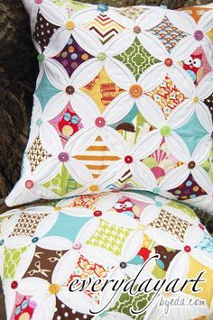 Image result for white cathedral window puff quilt with buttons