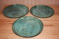 Set of three green pottery plates serving plates by earthyharvest