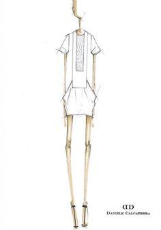 Fashion Sketch - fashion design illustration for the Daniele Calcaterra SS12 collection