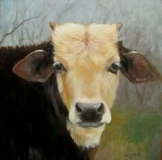 Cow Painting of Peggy Sue Canvas Original Oil by ChatterBoxArt